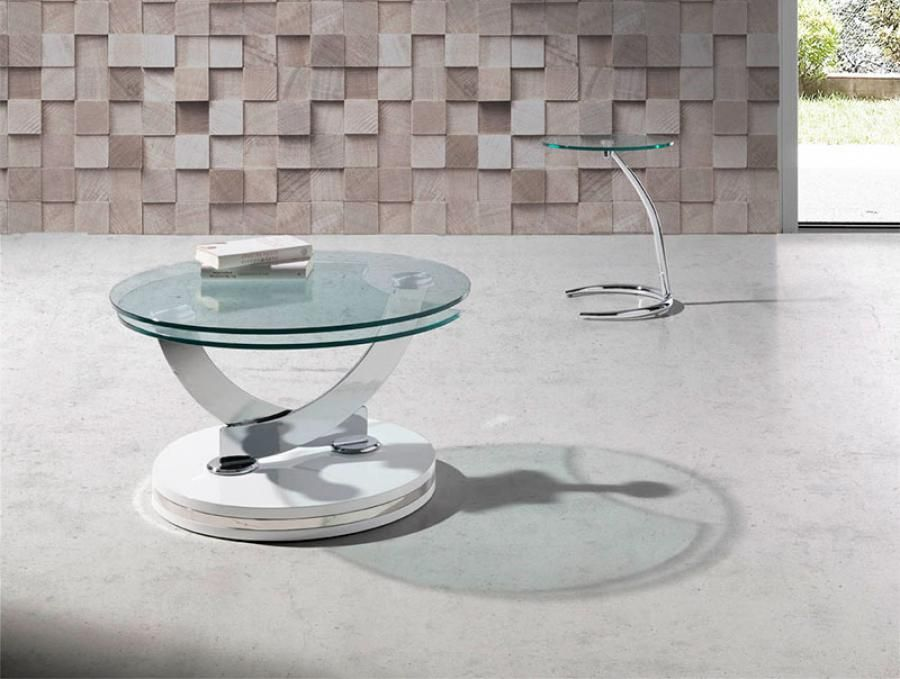 Round Gl Swivel Coffee Table Modern Tables And Accent