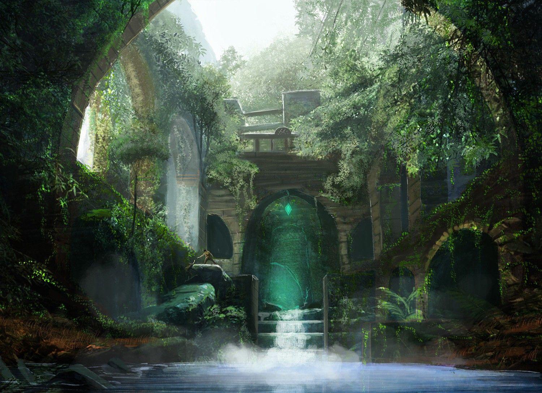 ファンタジー 画像 写真 背景 題材 素材 水のイメージ 茂みの壁紙