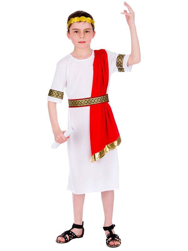28bfea9bed Boys Roman Emperor Julius Caesar Greek Toga King Kids Fancy Dress Outfit  Costume