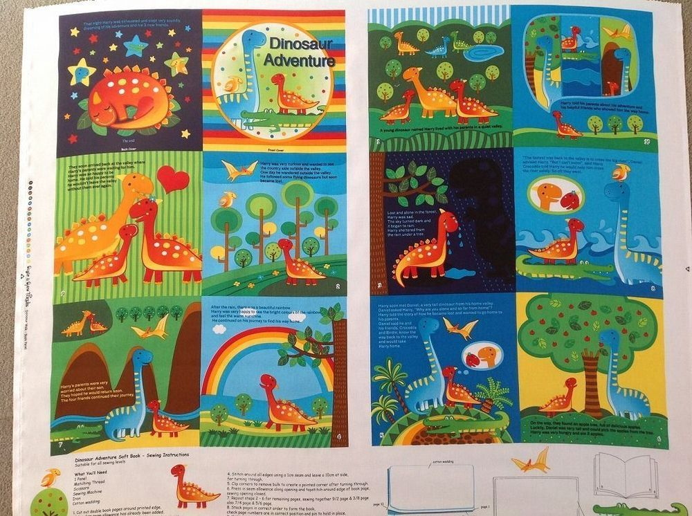 Dino dinosaur book panel quilt craft 100 quilting cotton