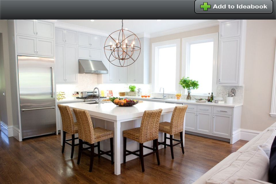 Square Free Standing Kitchen Island Seating With Round Chandelier : 13  Interesting Square Kitchen Island Photograph