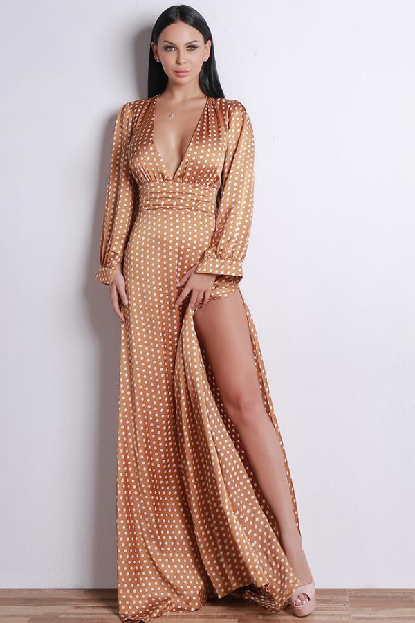 617973b9b1f Plunge neckline dotted sexy side slit maxi dress