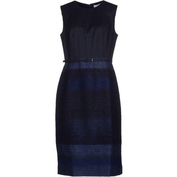 Carolina Herrera Knee-length Dress ($960) ❤ liked on Polyvore featuring dresses, black, black sleeveless dress, sleeveless dress, tube dress, no sleeve dress and carolina herrera dresses