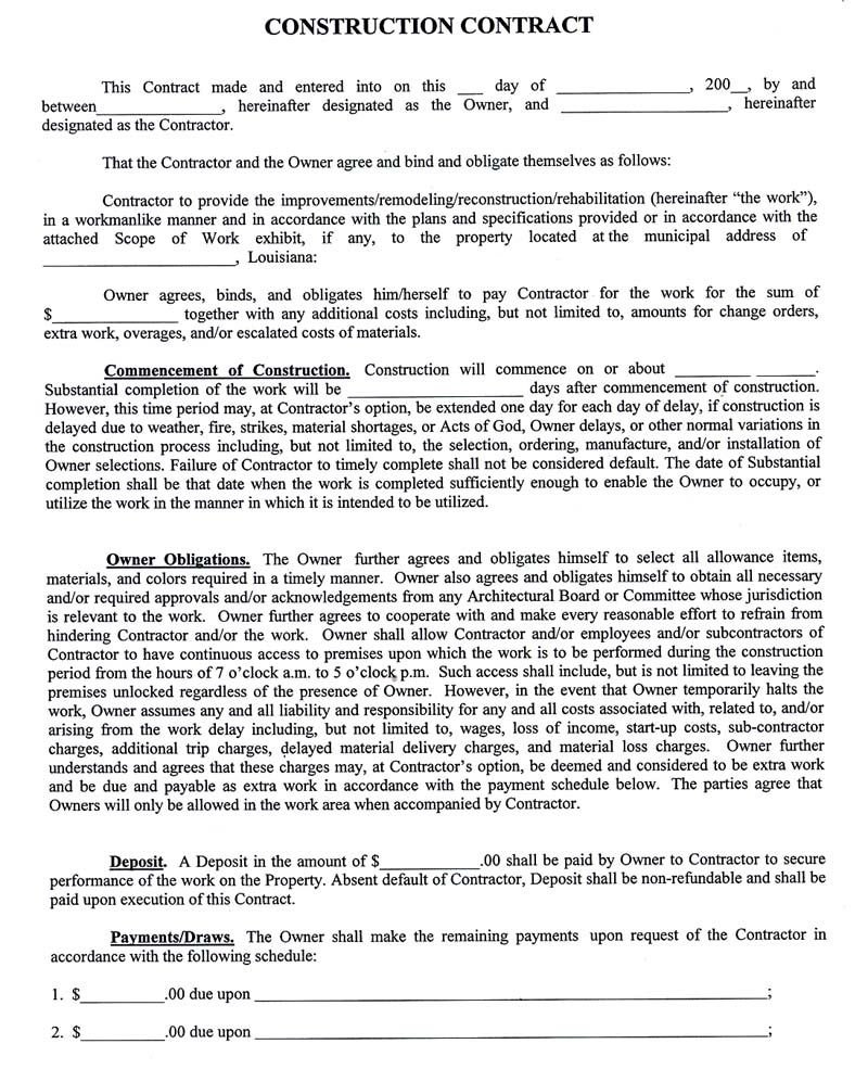 Samples Of Contracts Kleobeachfixco - Construction contract template doc
