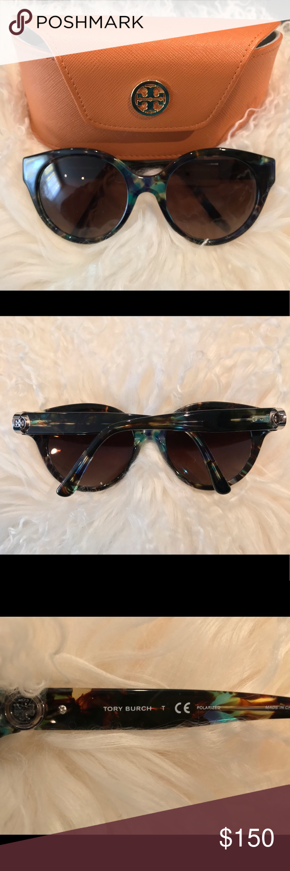 f22af1245848 Tory Burch Blue/Brown/Tort Polarized Sunglasses • Frame Style: ROUND •  Frame Fit: PETITE • Lens Feature: GRADIENT POLARIZED • Eye/Bridge/Temple:  52/19/135 ...