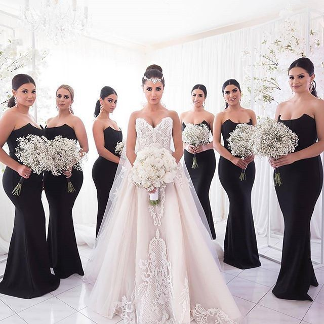Black bridesmaid dresses, Unique strapless mermaid bridesmaid dresses, Simple cheap bridesmaid dresses, PD21179 from BellaBridal 11