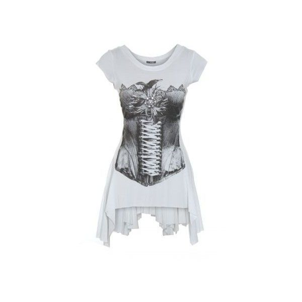 a2d2ebe99c White and Black Corset Print Top from Quiz Clothing (41 CAD) ❤ liked on Polyvore  featuring tops