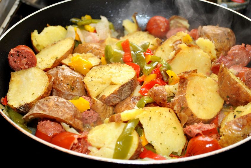 1 (14 ounce) package turkey kielbasa, cut into 1/4 inch rounds 1 green bell pepper, diced 1/2 yellow, red or orange bell pepper, diced #Kielbasa, Onion, Pepper, and #Potato Hash #recipe 1 onion, diced 3 small or 2 large potatoes, peeled and diced olive oil salt and pepper