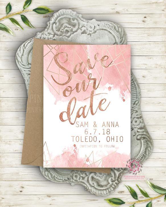Modern Geometric Blush Wedding Save The Date Invite