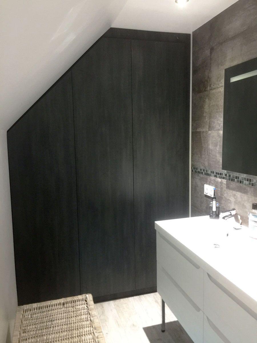 Meuble sous pente salle de bain noir sur mesure  Meuble sous