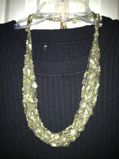 Black and Gold Ladder Yarn crocheted necklace I made.