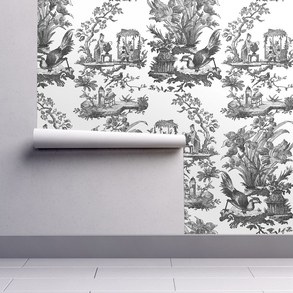 Chinoiserie Toile Black And White Floral Wallpaper Border Wallpaper Wallpaper Roll