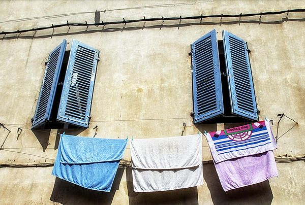 Blue Shutters And Laundry  by Georgia Fowler - Blue Shutters And Laundry  #Photograph - Blue #Shutters And Laundry  Fine Art Prints and Posters for Sale #PhotosOfFrance
