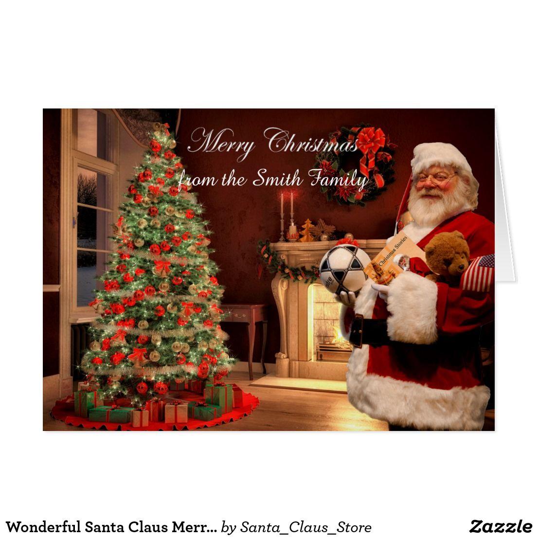 Wonderful Santa Claus Merry Christmas Card Happy Holiday Greeting Cards Holiday Greetings Santa Claus Cards