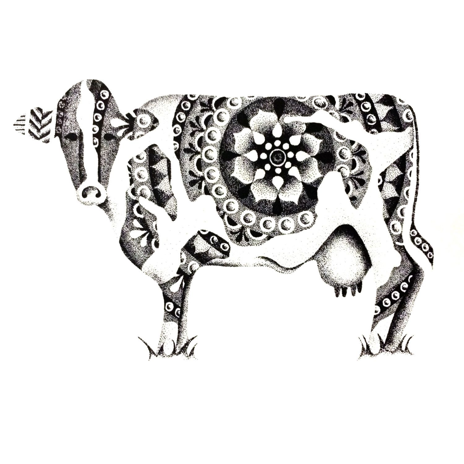 pointillism cow print by studioamylynn on etsy https www etsy