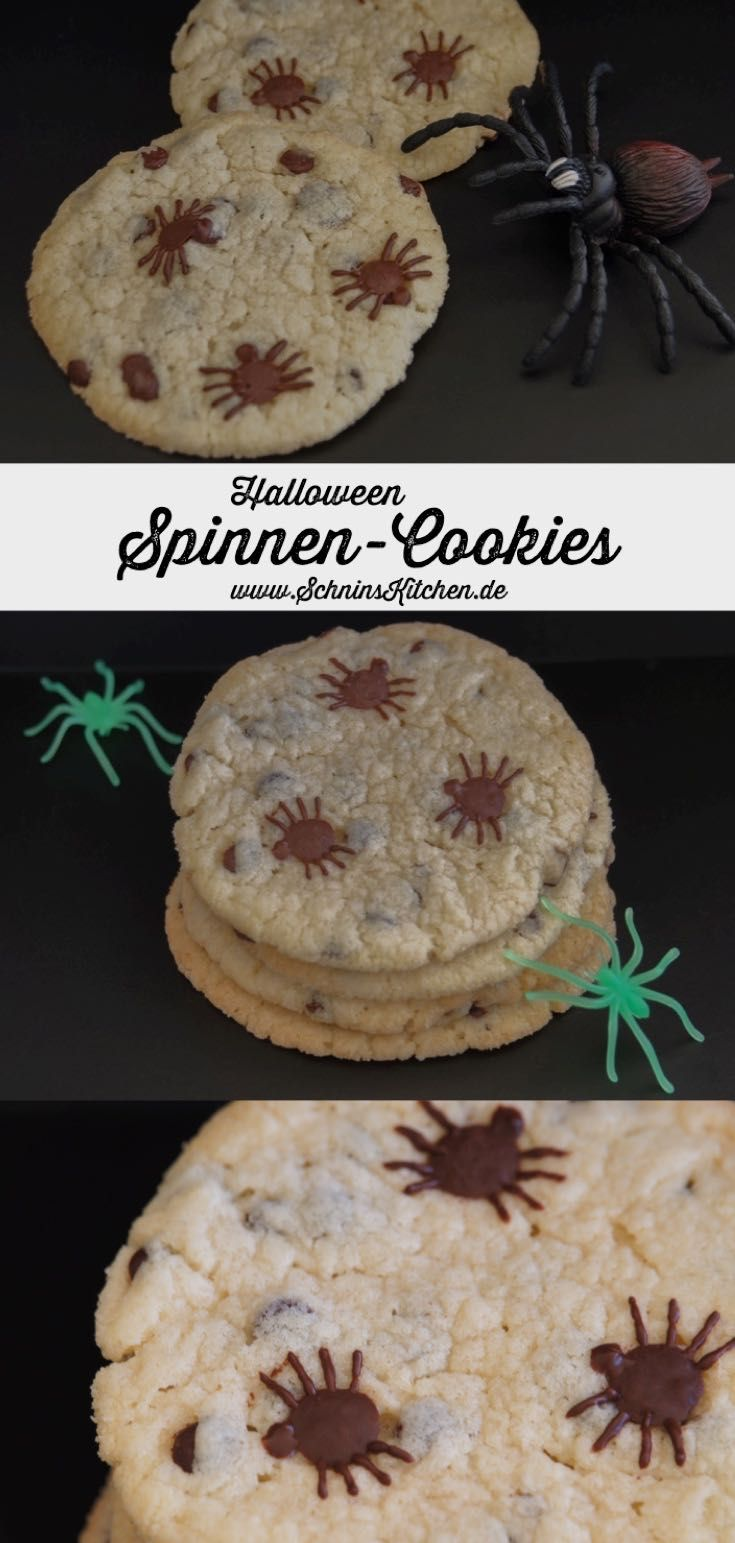 Spinnen-Cookies mit Chocolate Chips #halloweenkekse
