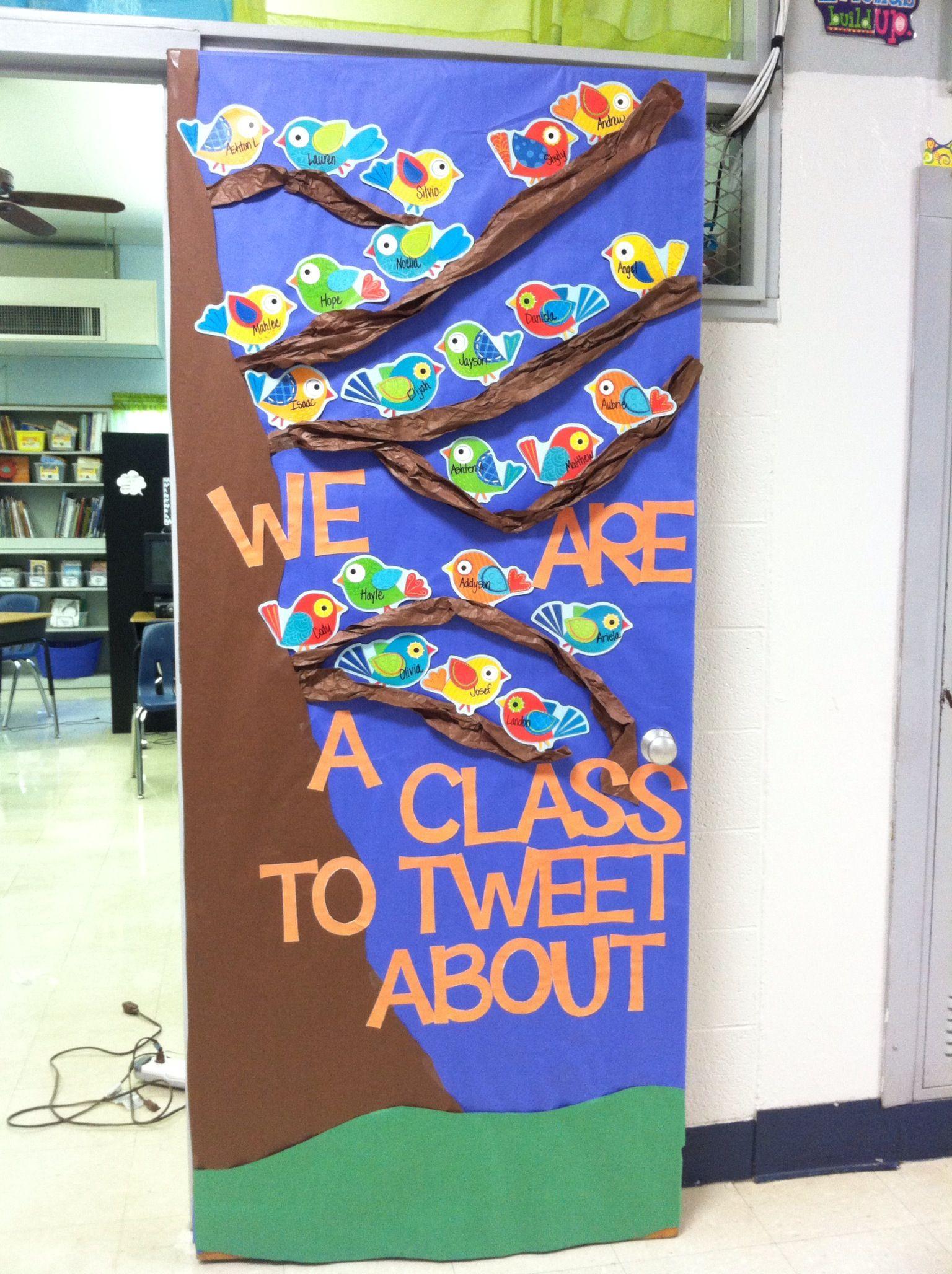 Classroom Ideas With Birds ~ Bird themed classroom door decoration and