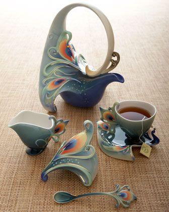 Luminescence Peacock Tea Set Tea Set Tea Pots Tea