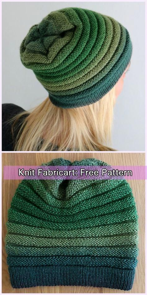 Double Thickness Knit Gradient Wurm Slouchy Beanie Hat Free Pattern #knitting #beanies