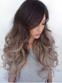 Dark Brown Ombre Ash Blonde Long Wavy Lace Front Human Hair Wig