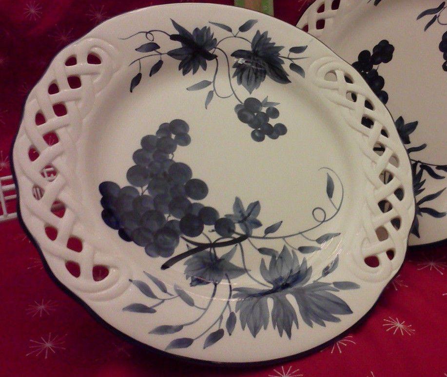 Decorative Plate Nantucket Blueberries Blue \u0026 White Lattice Edge Deep Dish # Nantucket & Decorative Plate Nantucket Blueberries Blue \u0026 White Lattice Edge ...