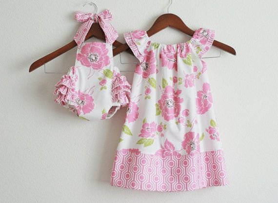 0f764fe61e92 {TWO piece Matching Sibling SET - Big sister Flutter Dress and Little sister  Sunsuit / Dolce} [Etsy-xxLittleBoatxxx]