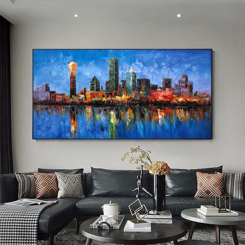 Dallas Cityscape skyline oil blue painting original