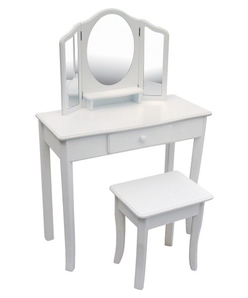 Guidecraft Classic White Vanity And Stool Muebles