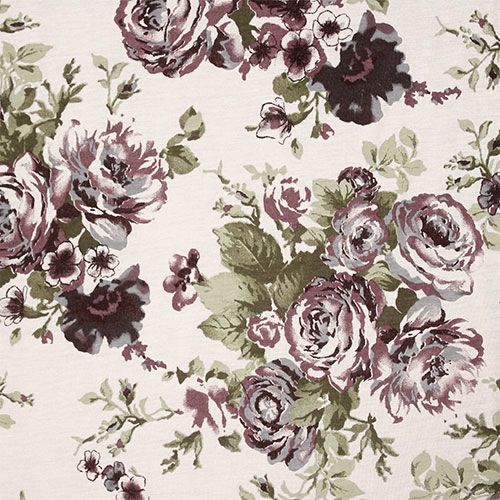 ef6dc6ac7d9 Plum Gray Rose Floral on Taupe Cotton Jersey Knit Fabric - Season perfect  colors! Plum, burgundy, gray roses on a neutral taupe color cotton jersey  knit.