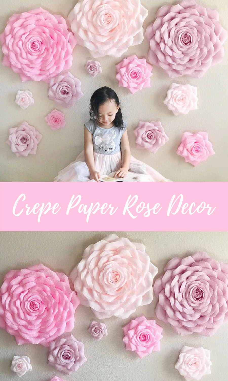 Crepe Paper Rose Backdrop Large Paper Flowers Nursery Wall Flowers