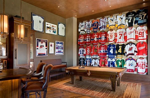 Hockey Themed Man Cave Rustic Man Cave Man Cave Design Man Cave Lighting