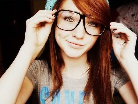 nerd glasses redhead hair makeup
