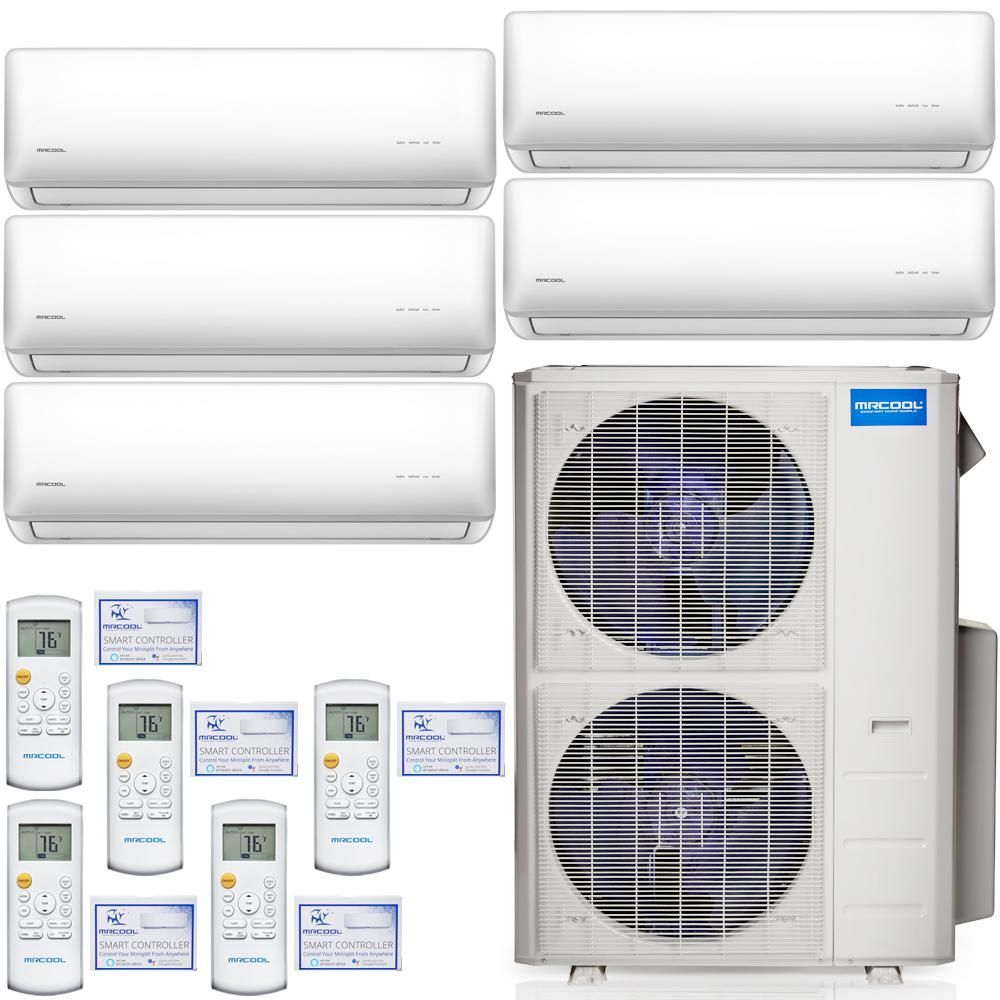 Mrcool Olympus 48 000 Btu 4 Ton 5 Zone Ductless Mini Split Air Conditioner And Heat Pump 25 Ft Install Kit 230v 60hz M548hp23wm01ak2 Ductless Mini Split Window Air Conditioning Units Ductless