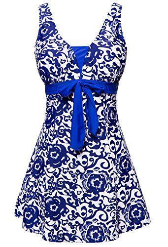 a8328b4794e1d Wantdo Women's Plus Size One-Piece Push Up Swimsuit Swimwear Vintage Sailor  Dress