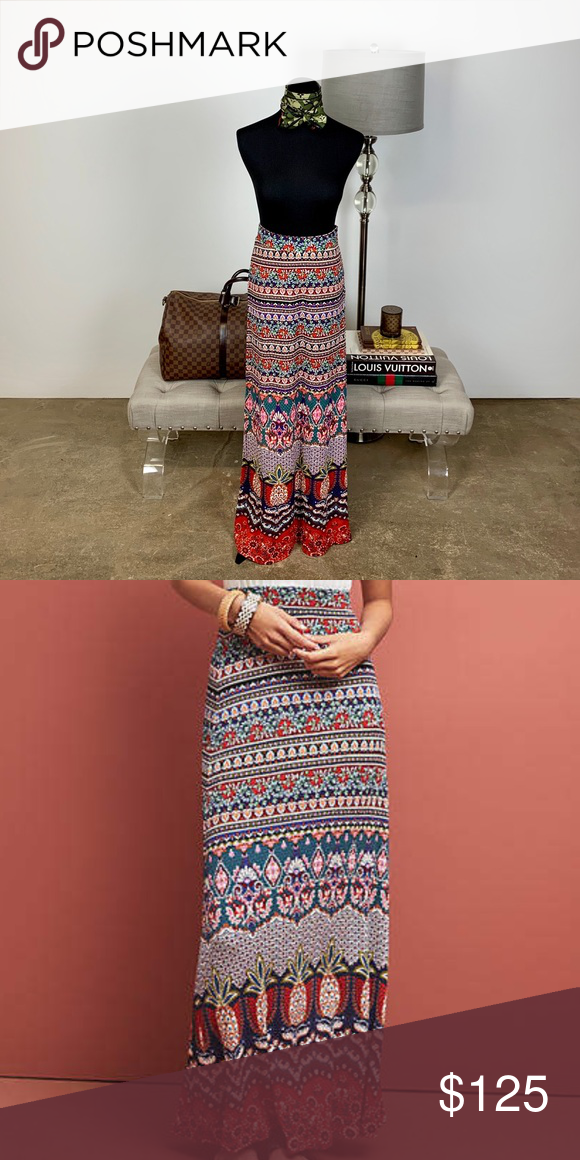 hot new products buy real harmonious colors Anthropologie Farm Rio Mixed-Print Maxi Skirt XS ...