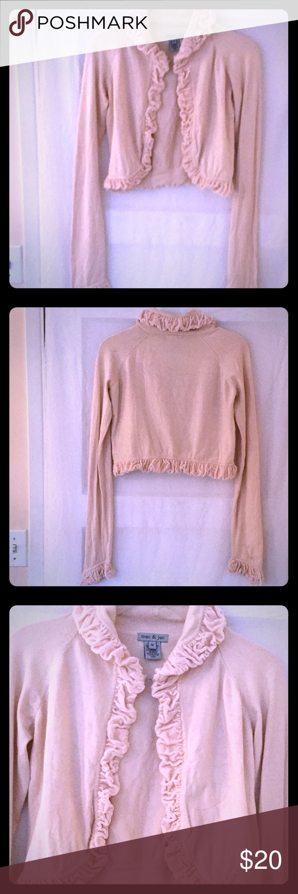 "mac & jak Long Sleeved Sweater Feminine ruffled velvet trimmed short body (18"") sweater. 80% silk, 15% nylon, 5% spandex. Sleeve (28"") length. 4th pic shows a 1 cm orangish spot (had to search to find) ~ may be hand washed or dry cleaned. Terrific, stylish jacket; day & evening ready! Mac & Jac Sweaters"