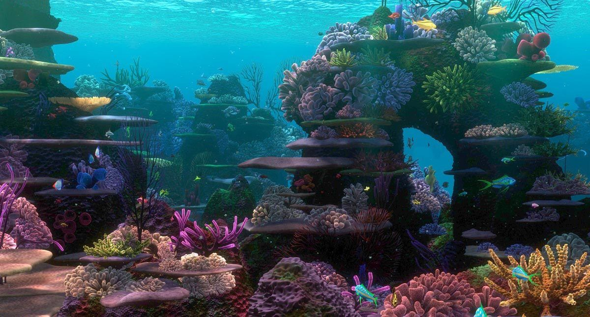 Finding nemo coral reef aquarium background aquarium for Fish tank trailer