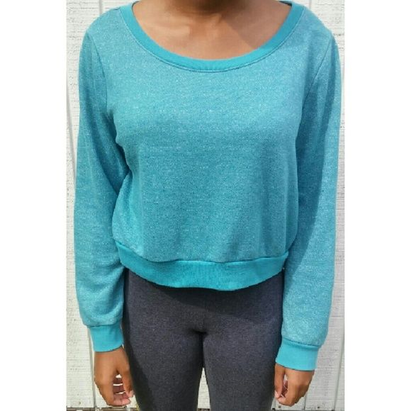 Blue Cropped Sweater Confy sweater Wet Seal Sweaters Crew & Scoop Necks