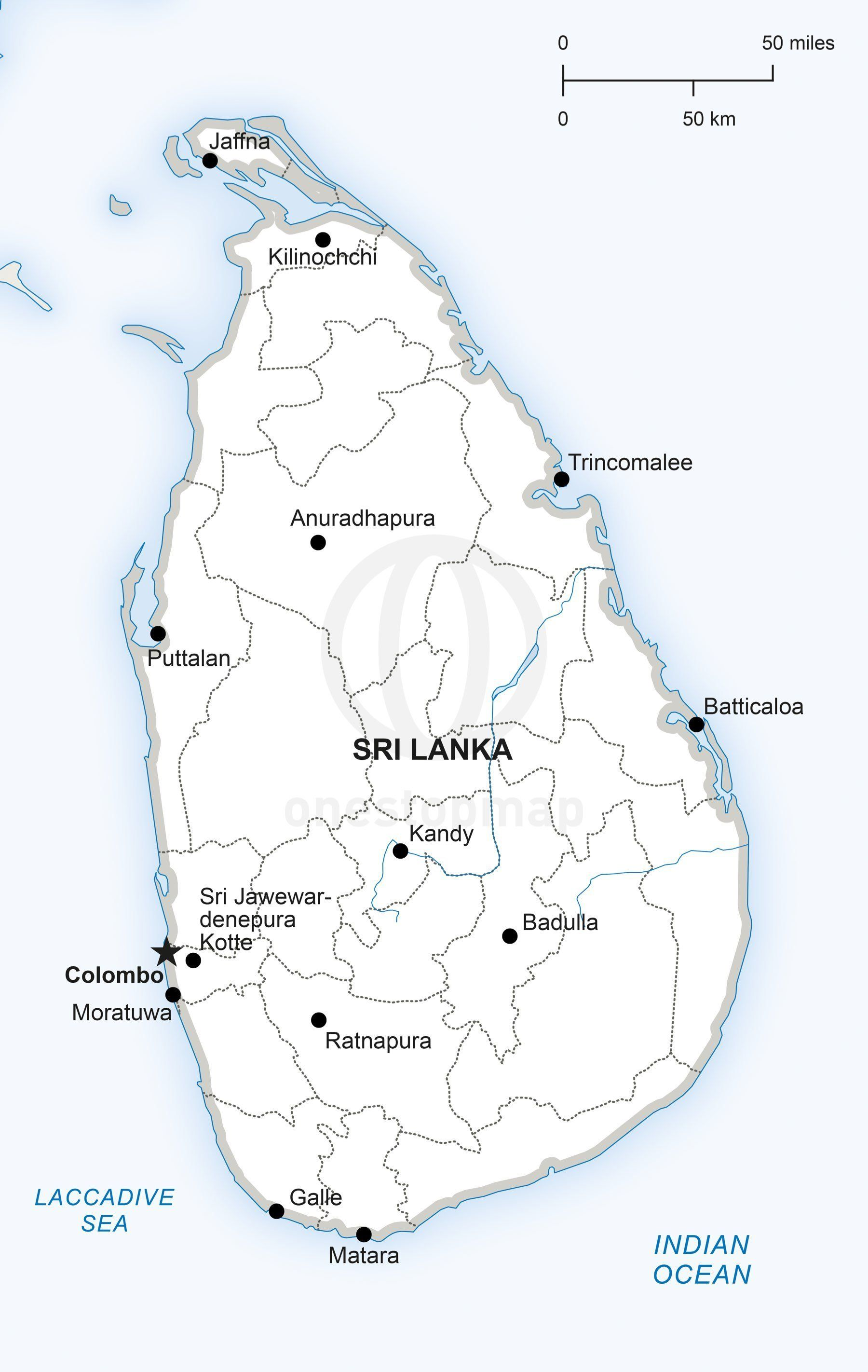 Map Of Asia Sri Lanka.Map Of Sri Lanka Political A17181 In 2019 Map Vector