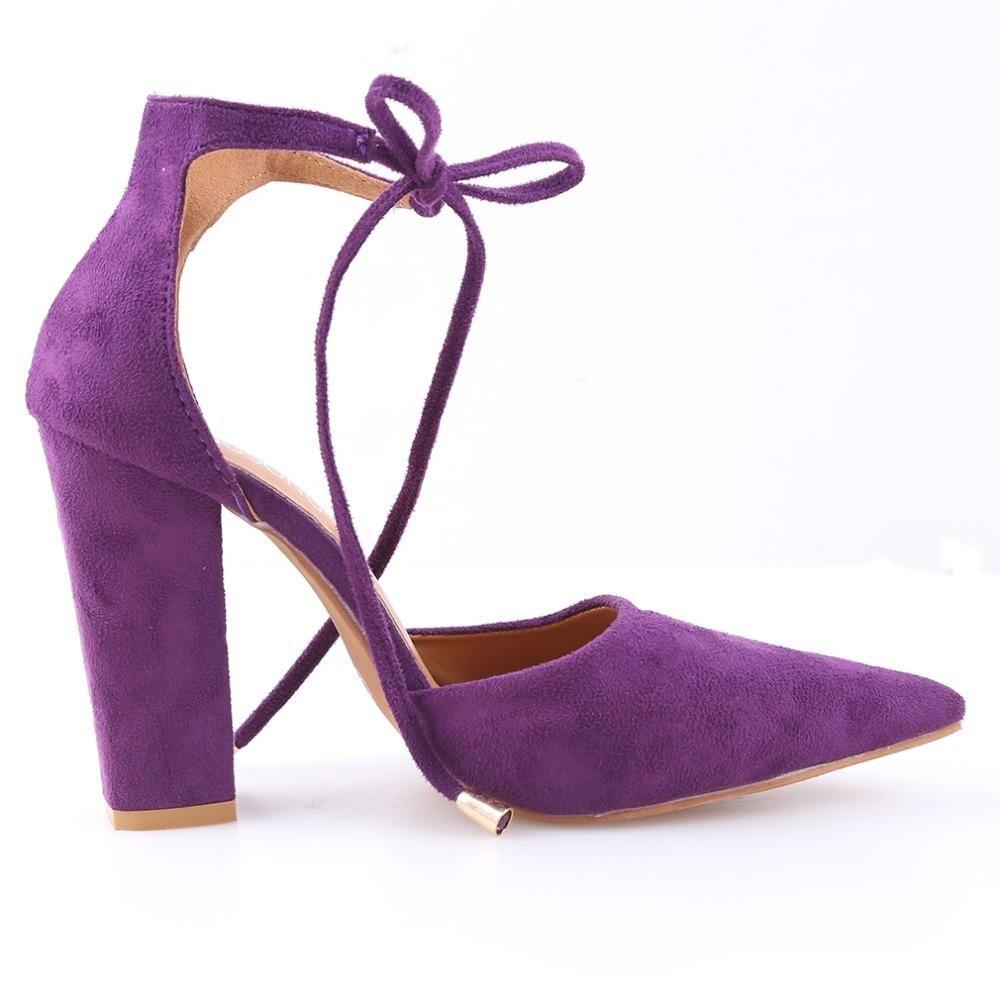 Fabulous Micro Suede Ankle Tie Block Heels (Purple) | Block heels ...