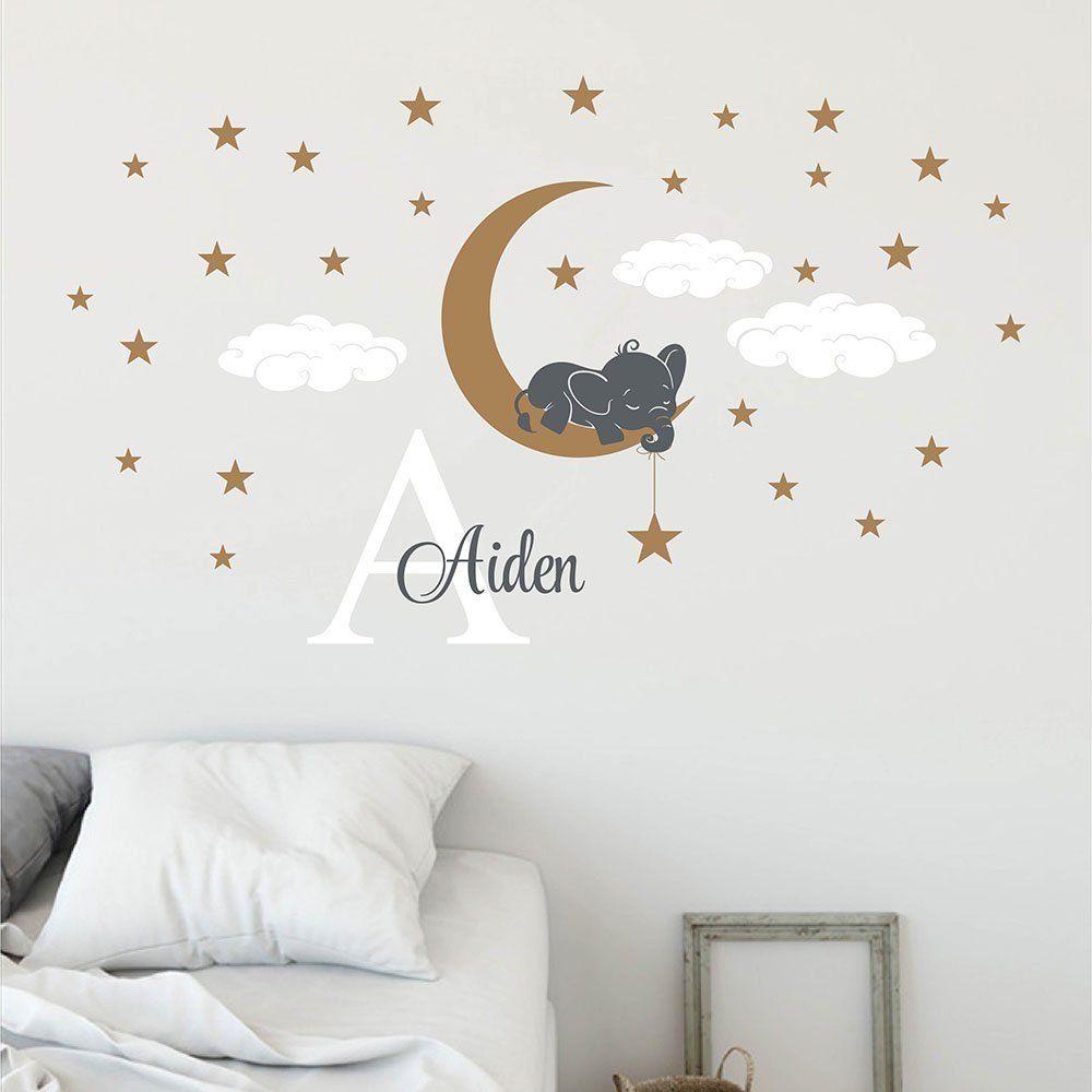 Stickers Muraux Chambre Bébé elephant on moon custom decal for nursery-customized kids