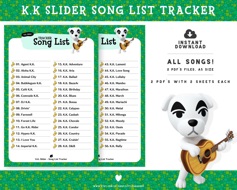 Animal Crossing New Horizons K.K. Slider Song List Tracker