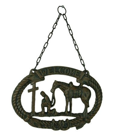 Praying cowboy rust colored metal ornament//fan pull