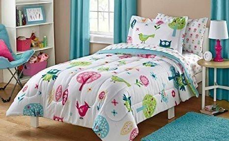 Owl Life White Pink Green Blue Bird Cute Kids Bedding Set 5 Piece Bed Bag