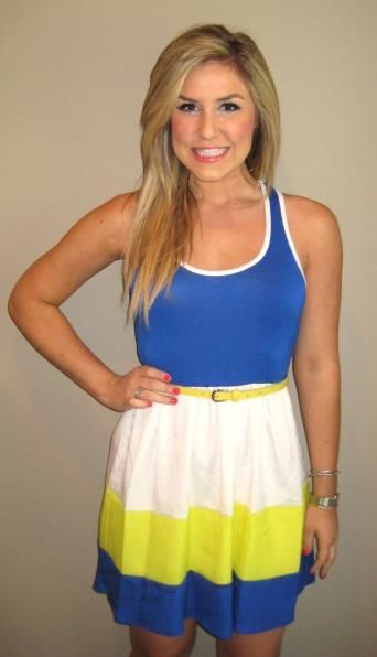 WVU! http://www.shopbellac.com/products-page/clothing/dresses/blue-yellow-color-block-dress/