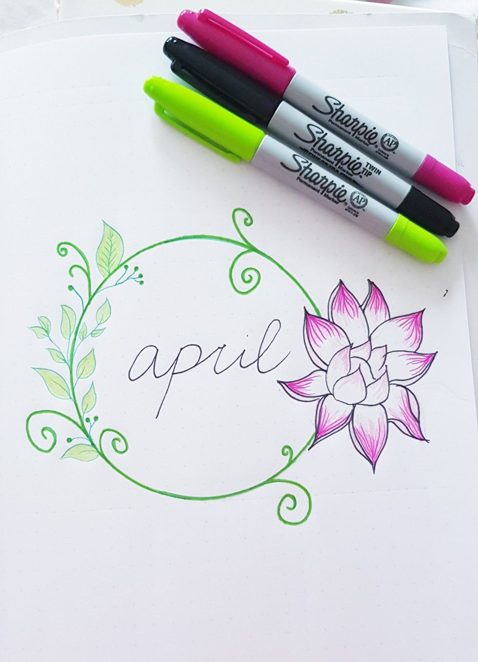 Hello April Bullet Journal April Cover Page Lotus Flower New