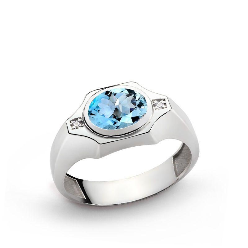 2.03 Ct Round Green Mystic Topaz Black Diamond 925 Sterling Silver Men/'s Ring