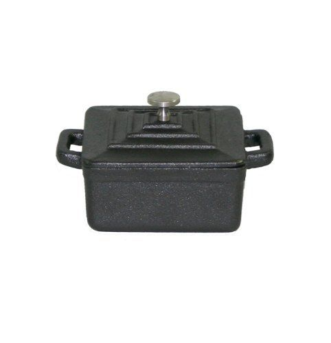 Paderno World Cuisine 0.27-Quart Square Cast-Iron Casserole, Black by Paderno World Cuisine. $19.99. great for side dishes. professional quality. cast iron construction. lid is included. lifetime warranty. This .27 quart black square cast-iron dutch oven's primary use is to slowly braise or simmer. This miniature version is most commonly used for side dishes and individual servings of stew meats and au gratin potatoes. The ability of the dutch oven to evenly distribute heat m...