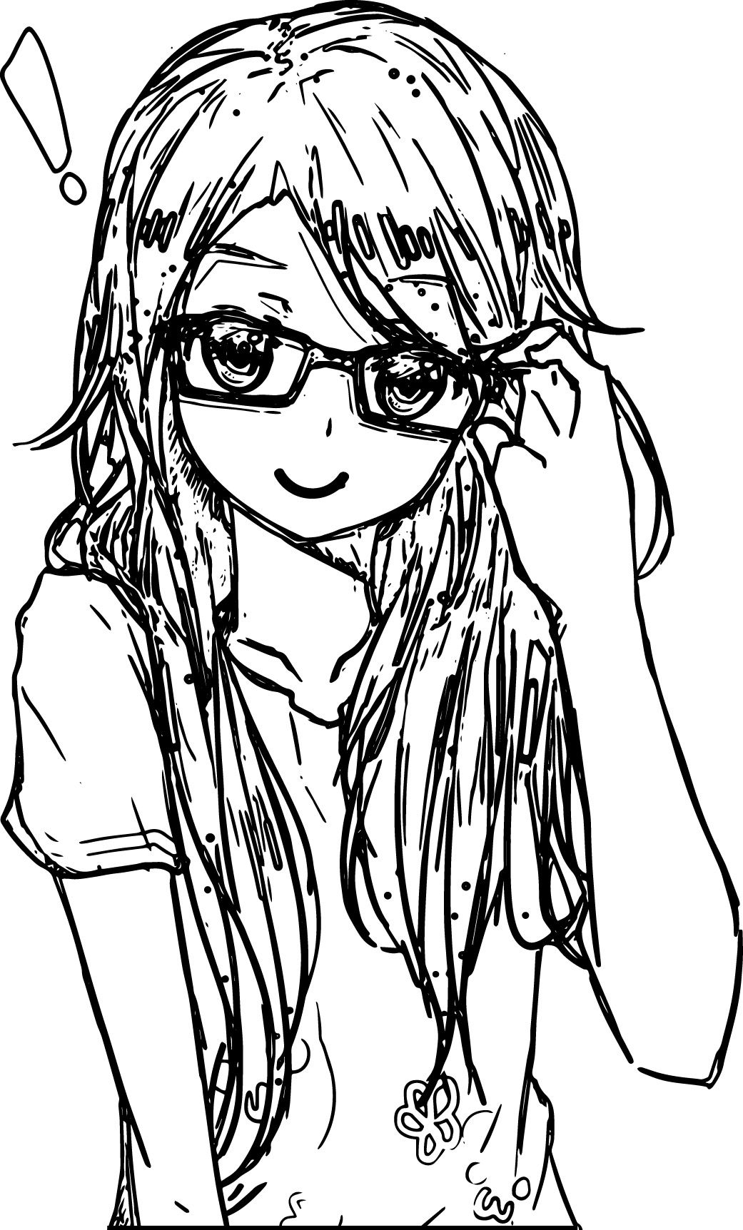 awesome Anime Art Girl Glasses Coloring Page Coloring