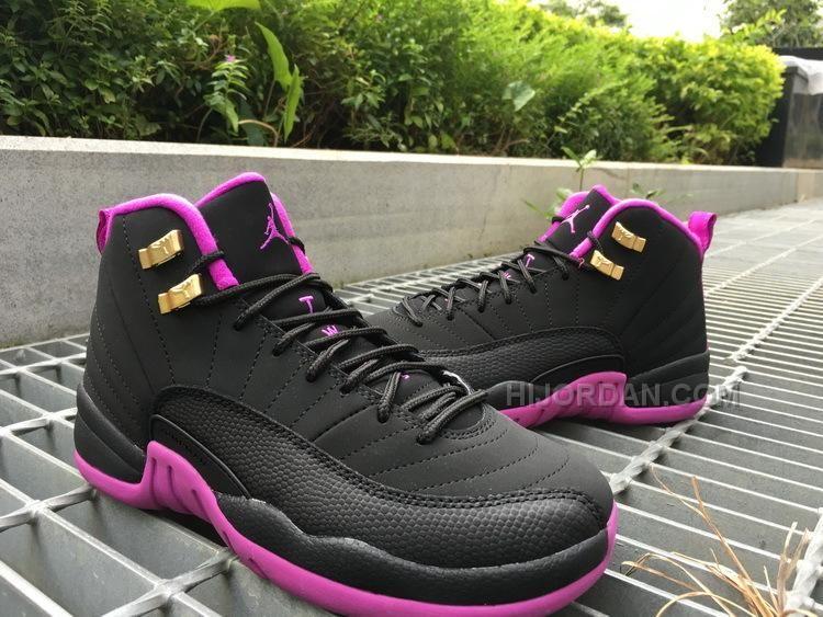 Air Jordan 12 GS Hyper Violet purple black women shoes